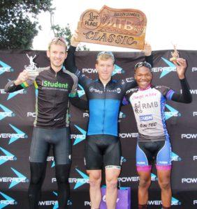 45km MTB winners -Jason Davies (2nd), Leeroy Emslie (1st), Mboneni Ngcobo (3rd)